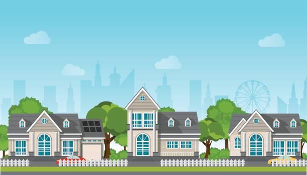 ilustrações de stock, clip art, desenhos animados e ícones de modern family house with car. - driveway, no people