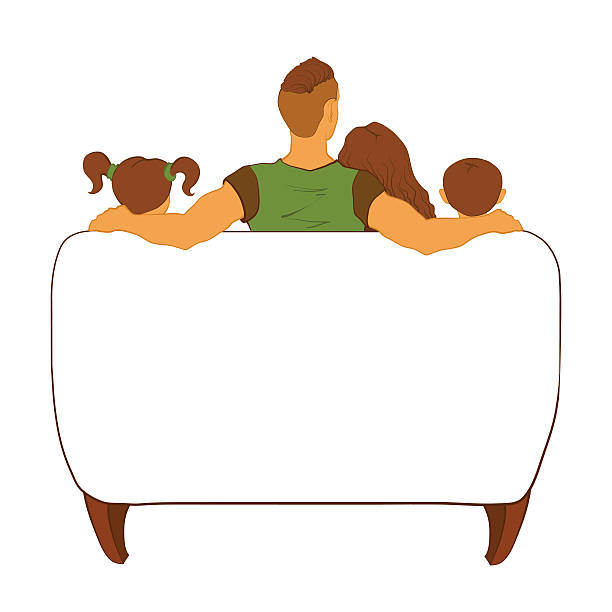 Modern family watching tv on a couch. Dad with a trendy hairstyle, wife and children. family watching tv stock illustrations