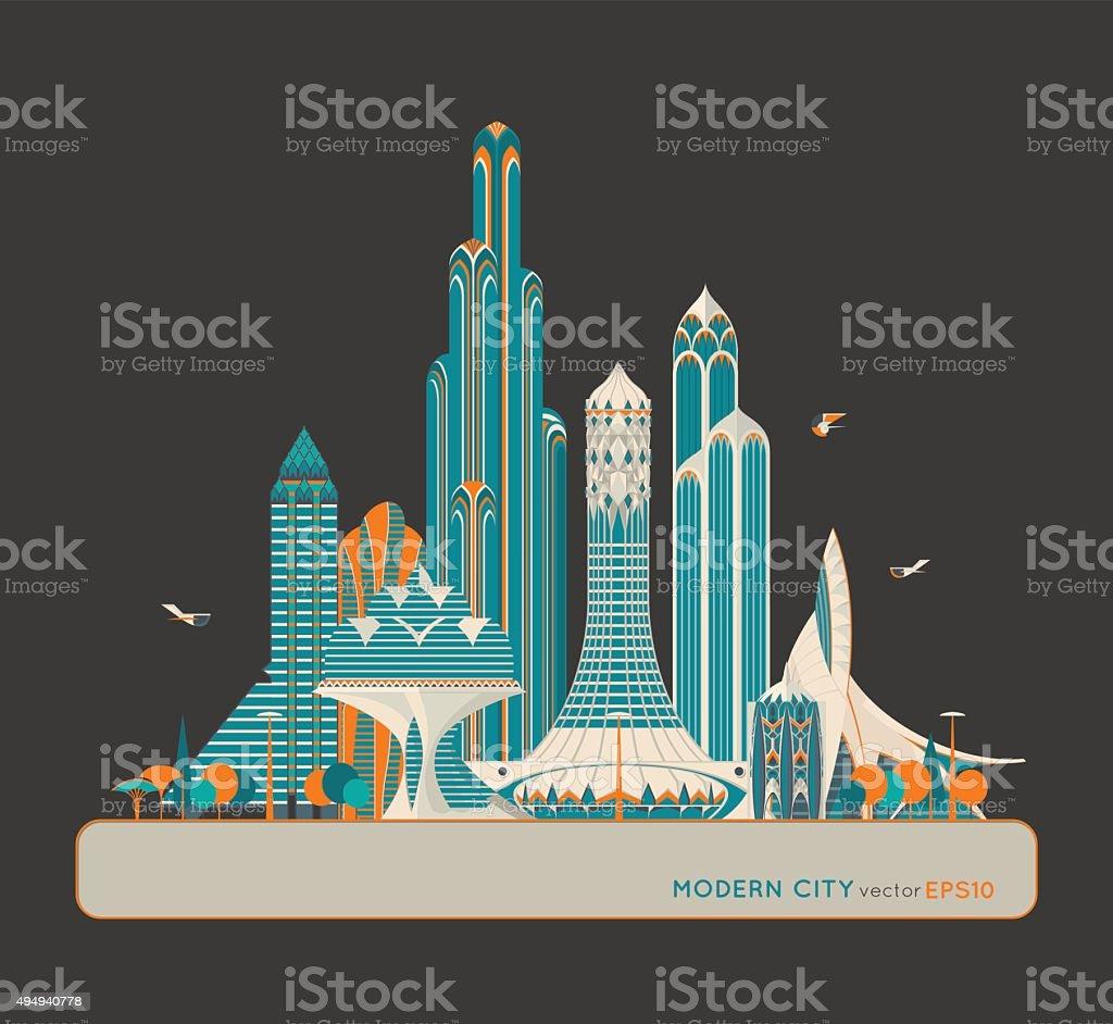 Modern fantastic city. City of the Future. Vector Background vector art illustration