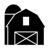 istock Modern Farm and Agriculture barn with silo icon concept 1306023393