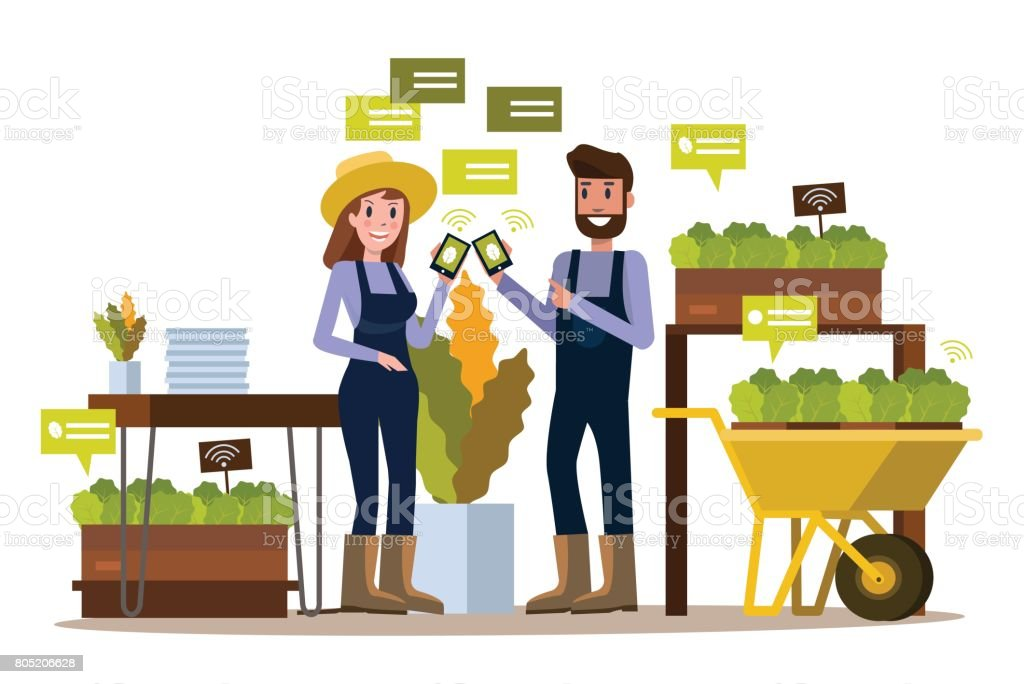 Modern farmer using smartphone  in greenhouse. - illustrazione arte vettoriale