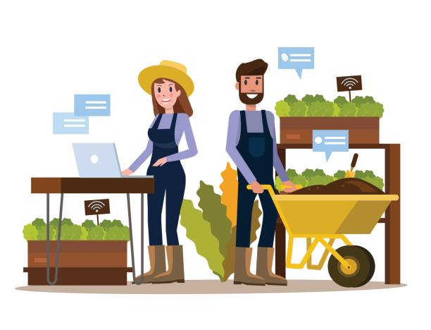 modern farmer using tablet in greenhouse. - food delivery stock illustrations