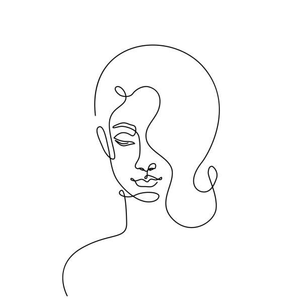 Modern fashion linear female face profile. Beautiful women in minimal line style for logo, emblem template. Vector illustration vector art illustration
