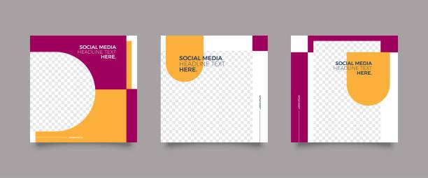 bildbanksillustrationer, clip art samt tecknat material och ikoner med moderna mode sociala medier post mall - social media post template