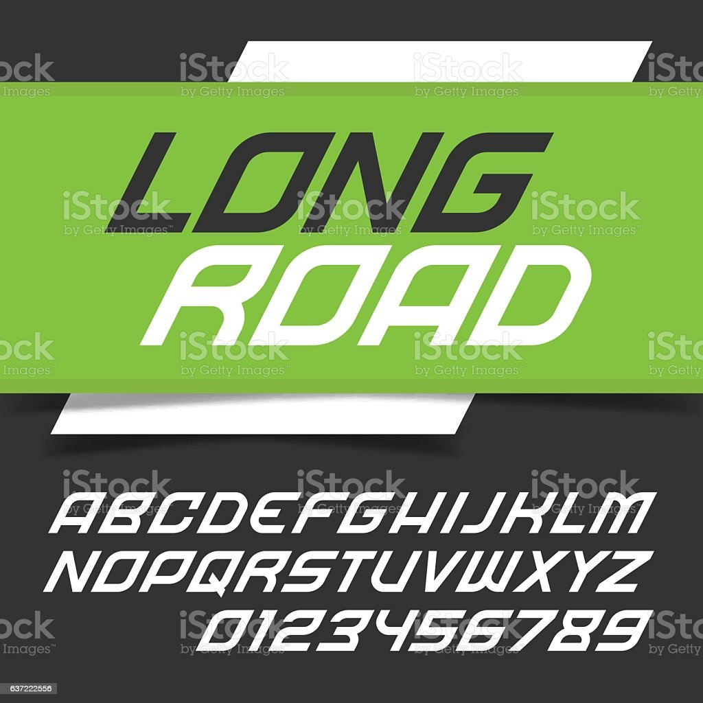 Modern fast alphabet font vector art illustration