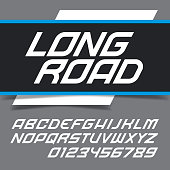 Modern fast alphabet lettering. Dynamic trendy race italic typeface. Vector font. Great font for headlines, labels, quotes, titles, posters or logotypes. Capital letters and numbers.
