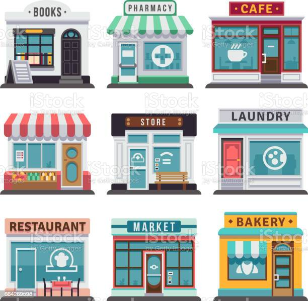 Modern fast food restaurant and shop buildings store facades with vector id664269598?b=1&k=6&m=664269598&s=612x612&h=udfvv5n wlpz6sfhaldi3ms6nyj9 5qa3n4klrqayn4=