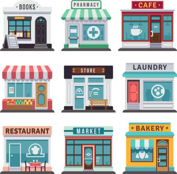 modernen fast food restaurant und geschäft gebäude, speichern fassaden, boutiquen mit schaufenster flache symbole - restaurant stock-grafiken, -clipart, -cartoons und -symbole