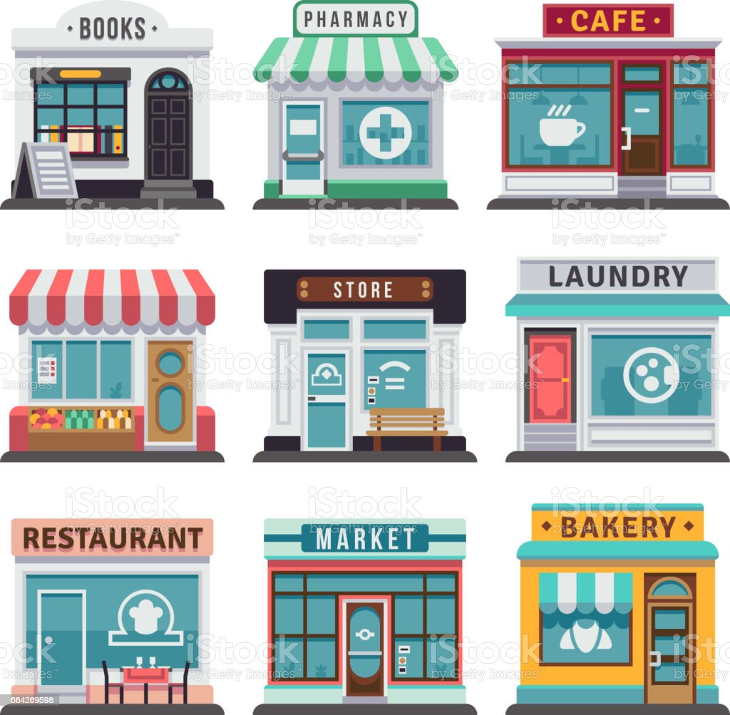 Modern fast food restaurant and shop buildings, store facades, boutiques with showcase flat icons - illustrazione arte vettoriale