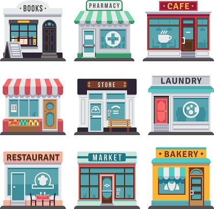 Modern Fast Food Restaurant And Shop Buildings Store Facades Boutiques With Showcase Flat Icons - Immagini vettoriali stock e altre immagini di Affari