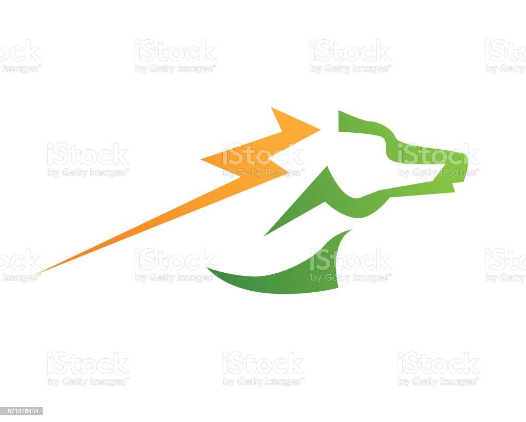 Modern Fast Lightning Horse Stallion Symbol Illustration Stock