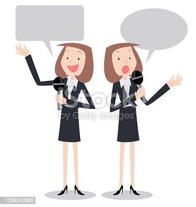istock Modern female reporter talking with microphone, two postures 1206343952