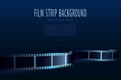 Modern film strips in waveform. Cinema vector poster design template. 3D flyer or poster festival isolated on blue background. Movie time background. Cinematography concept of film industry