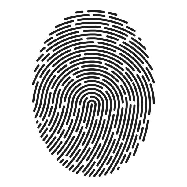 ilustraciones, imágenes clip art, dibujos animados e iconos de stock de huella dactilar moderna. vector - robo de identidad