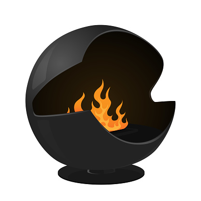 Modern Fireplace With Bio Fuel, Iron Stove of Sphere Shape With Burning Fire Inside. Contemporary Indoor Heating System