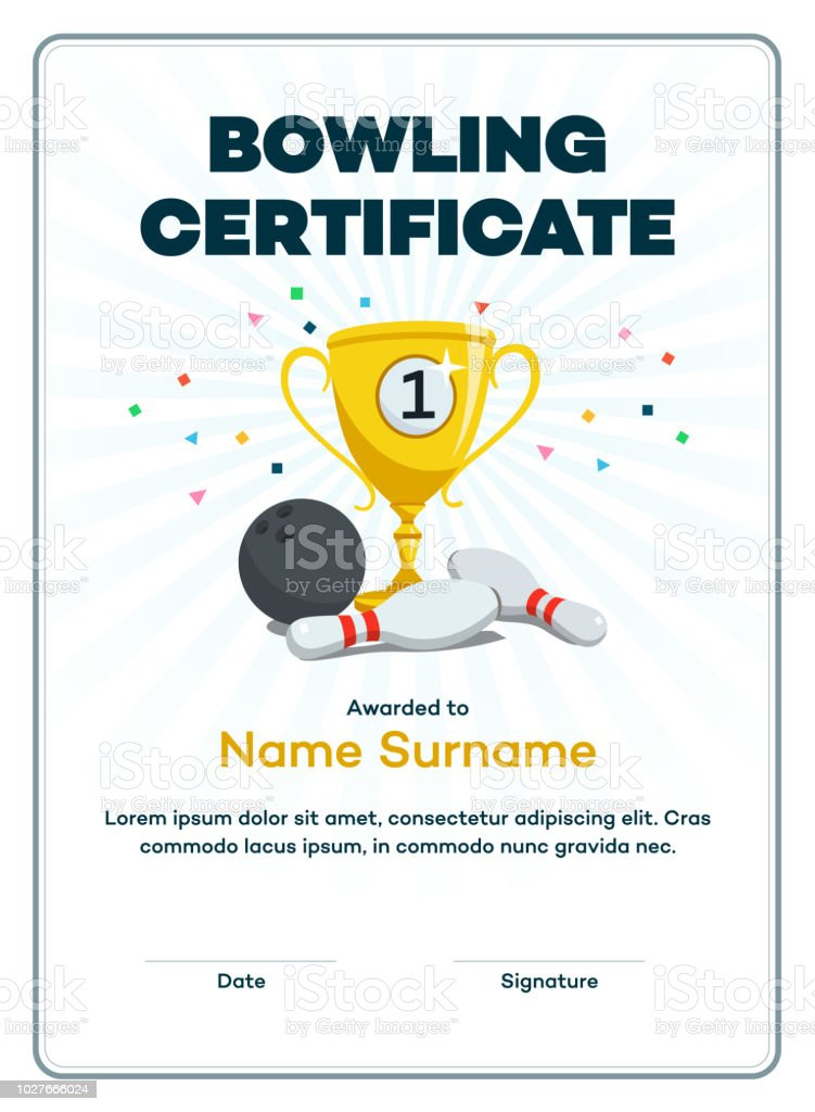 Modern first place bowling certificate diploma with a gold winning cup and place for your content