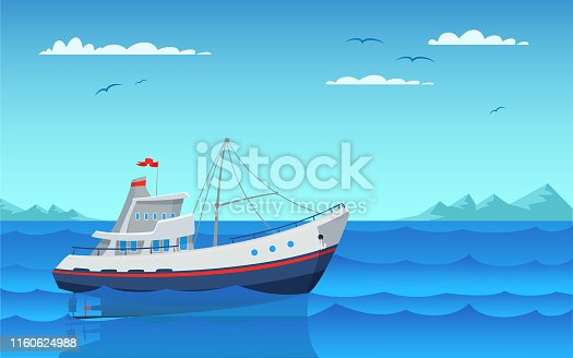 Modern fishing boat flat vector illustration. Empty vessel floating on waves side view. Fishery industry, commercial transport in bay. Personal nautical vehicle in harbor. Outdoor recreation