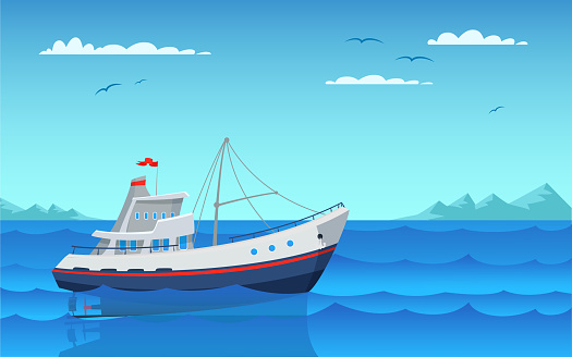 Download Cartoon Fishing Boat Clipart Free Download
