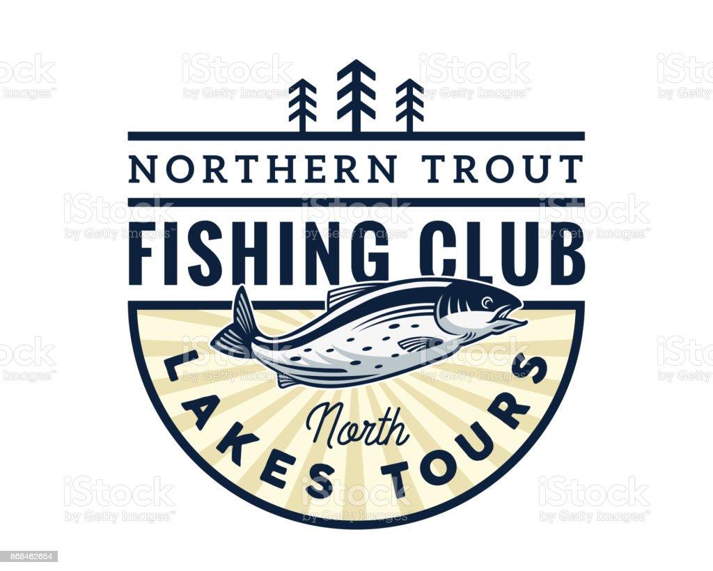 Moderne Fishing Club Turnier Abzeichen Illustration – Vektorgrafik