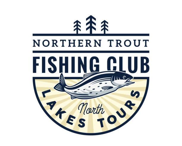 ilustraciones, imágenes clip art, dibujos animados e iconos de stock de club de pesca moderno torneo insignia ilustración - pesca