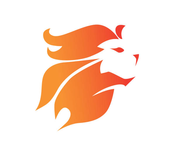 Modern Flaming Brave Lion Symbol Illustration vector art illustration
