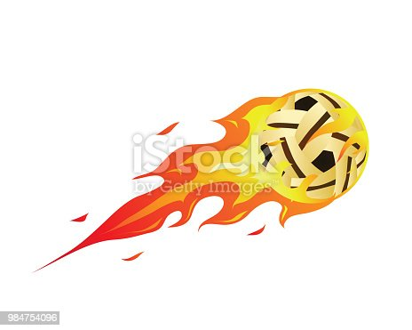 Flaming Meteor Sports Ball Illustration In Isolated White Background