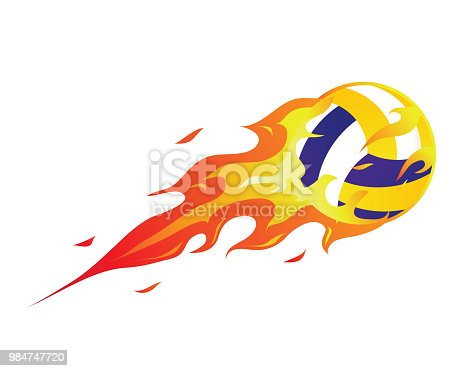 istock Modern Flaming Volleyball Meteor Ball Illustration 984747720