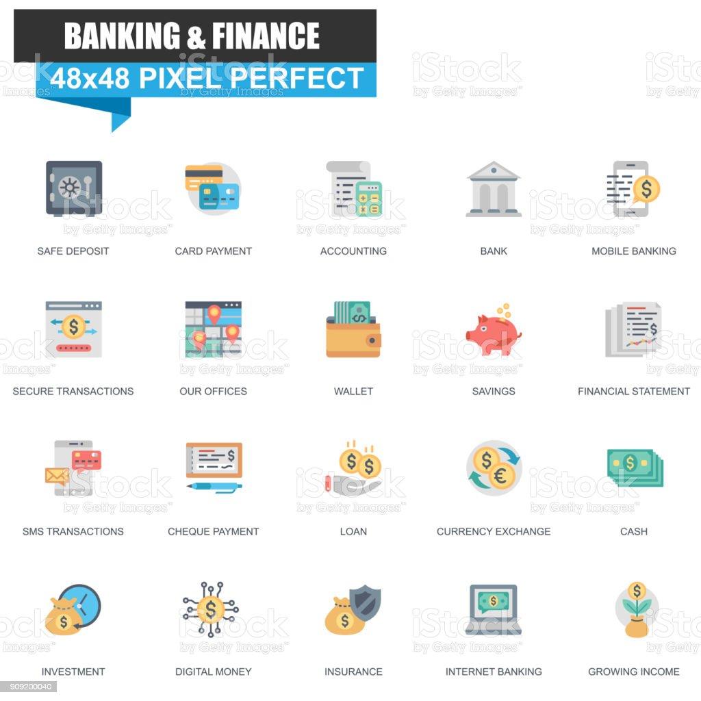 Modern flat banking and finance icons set vector art illustration