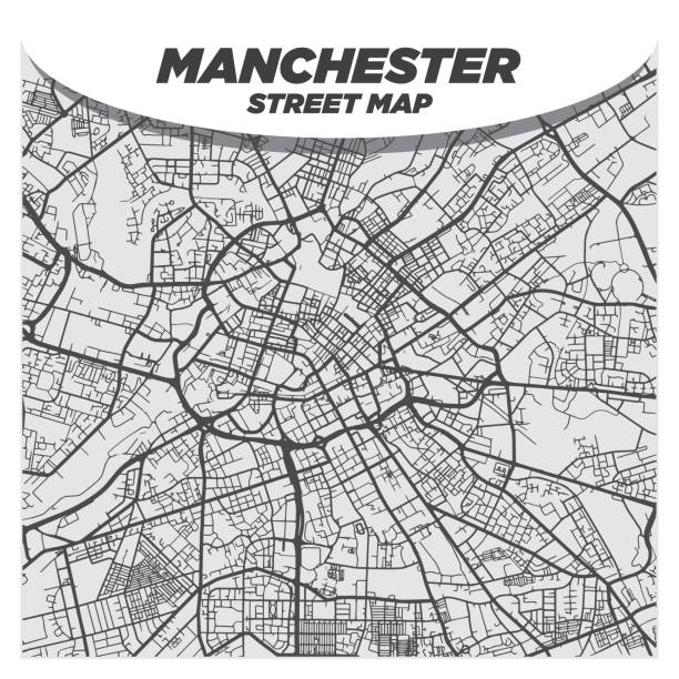 Modern Flat Black and White City Street Map of Downtown Manchester UK vector art illustration