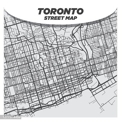 istock Modern Flat Black and White City Street Map of Downtown Toronto Canada 1277374439
