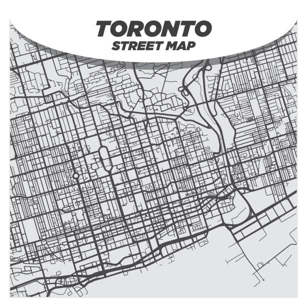 Modern Flat Black and White City Street Map of Downtown Toronto Canada vector art illustration