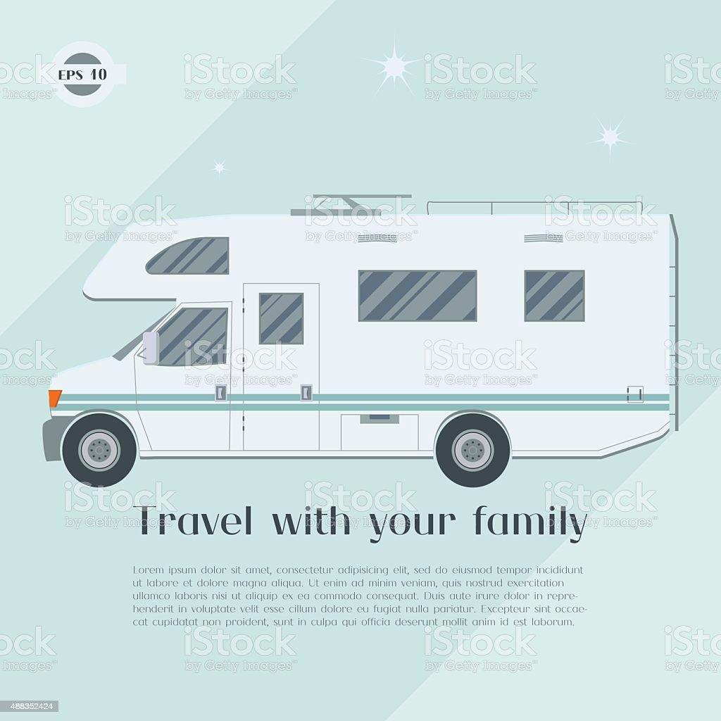 Modern flat camper van. vector art illustration