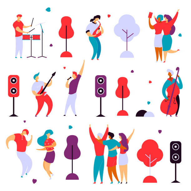 modern flat cartoon characters set for jazz,rock music fest concept-singer,musicians,guitar,sax,drums,double bass,hand drawn style.happy people dancing,rejoice,making selfie on musical festival party - muzyk stock illustrations