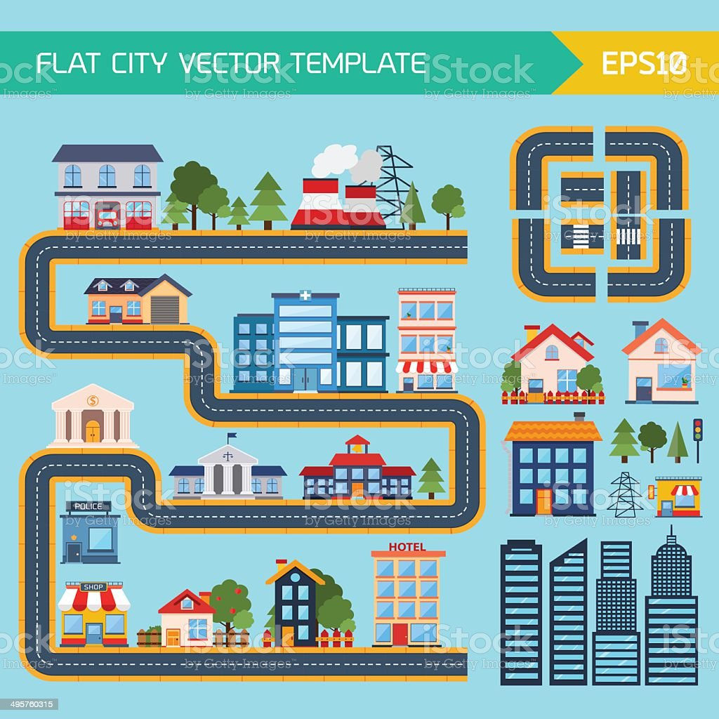Modern flat city background infographics vector art illustration