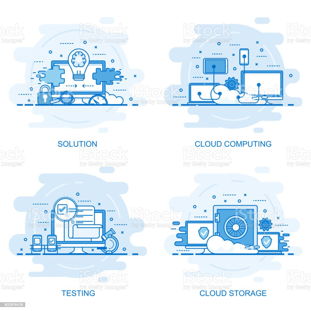 Modern flat color line concept web banner vector art illustration