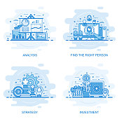 Modern flat color line concept web banner of Investment, Strategy, Analysis and Find the Right Person. Conceptual vector illustration for web design, marketing, and graphic design.