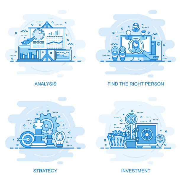 Modern flat color line concept web banner Modern flat color line concept web banner of Investment, Strategy, Analysis and Find the Right Person. Conceptual vector illustration for web design, marketing, and graphic design. banking drawings stock illustrations