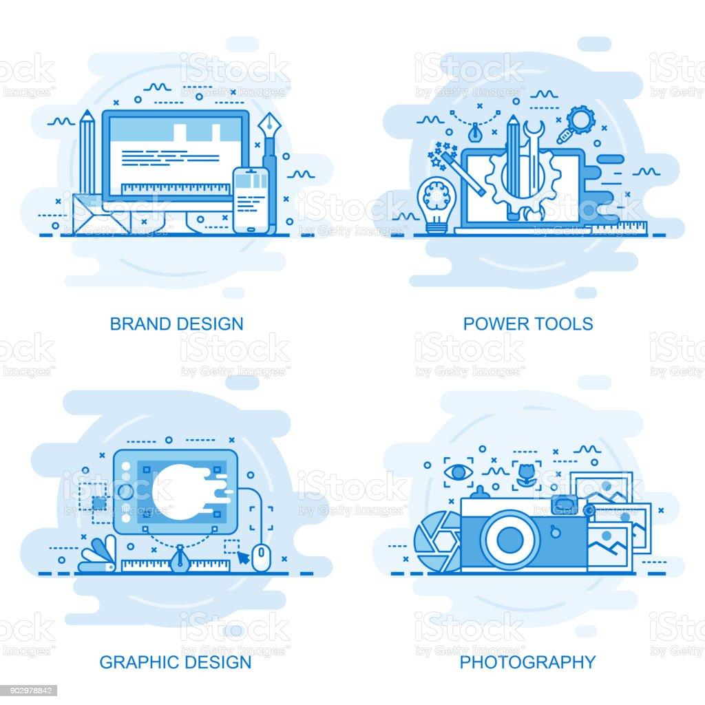 Bannière de web concept moderne ligne de couleur plate - Illustration vectorielle