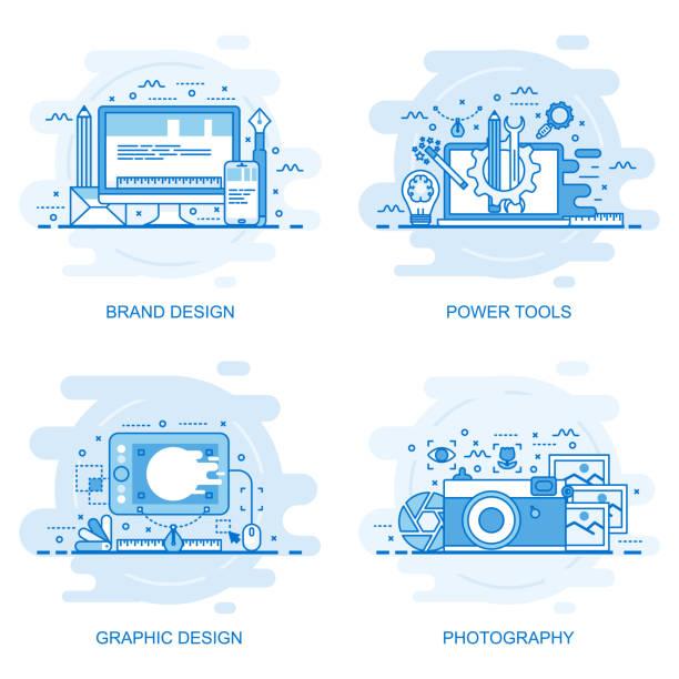 illustrations, cliparts, dessins animés et icônes de bannière de web concept moderne ligne de couleur plate - infographie de sites web