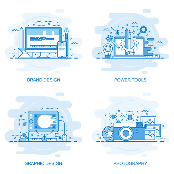 Banner de web de concepto moderno línea plana de color - ilustración de arte vectorial