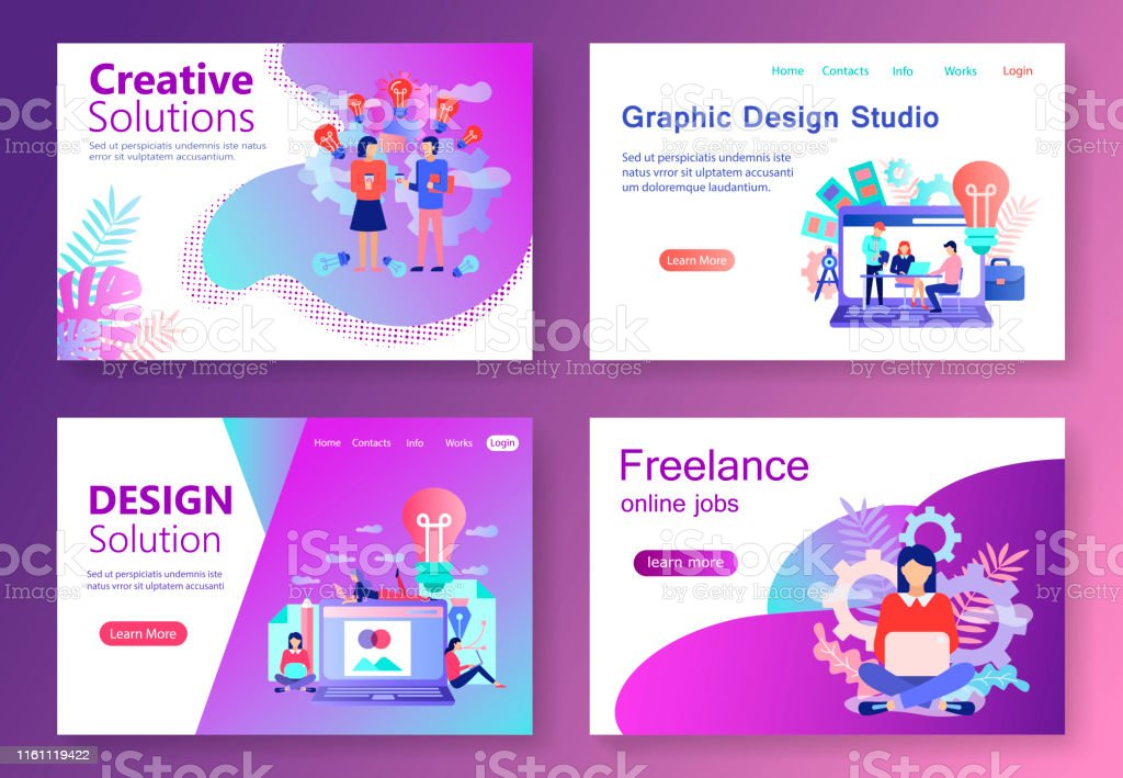 Modern flat concept web banner Graphic Design Studio with people...