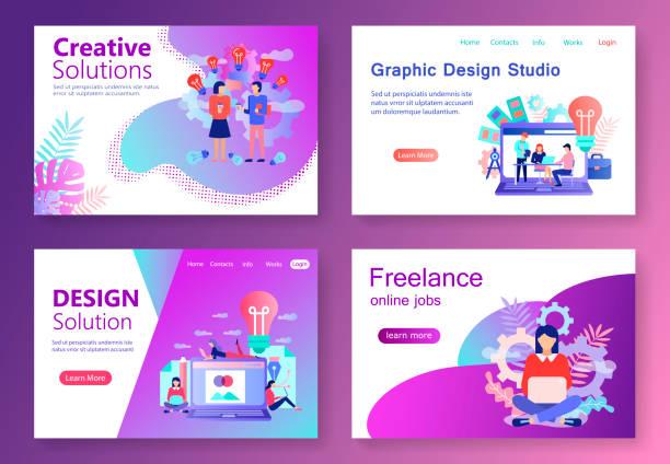 Modernes flaches Webbanner Graphic Design Studio – Vektorgrafik