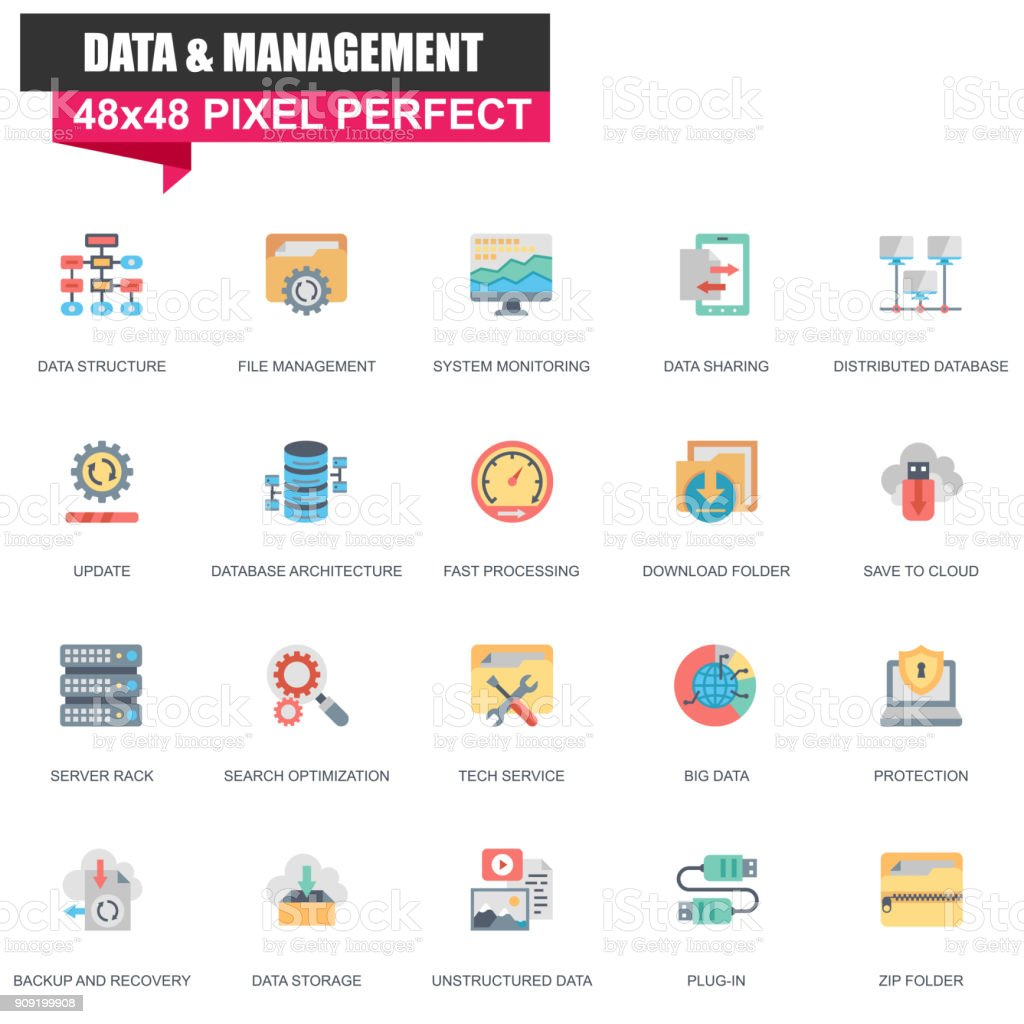 Modern flat data organization and management icons set vector art illustration