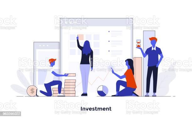 Modern Flat Design Concept Illustration Inwestycja - Stockowe grafiki wektorowe i więcej obrazów Biznes