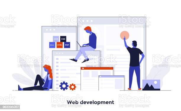Modern Flat Design Concept Illustration Web Development - Stockowe grafiki wektorowe i więcej obrazów Abstrakcja