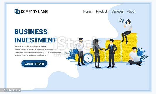 istock Modern Flat design concept of Business Investement with characters in investment innovation. Can use for business analysis, web banner, landing page, web template. Flat vector illustration 1210238977