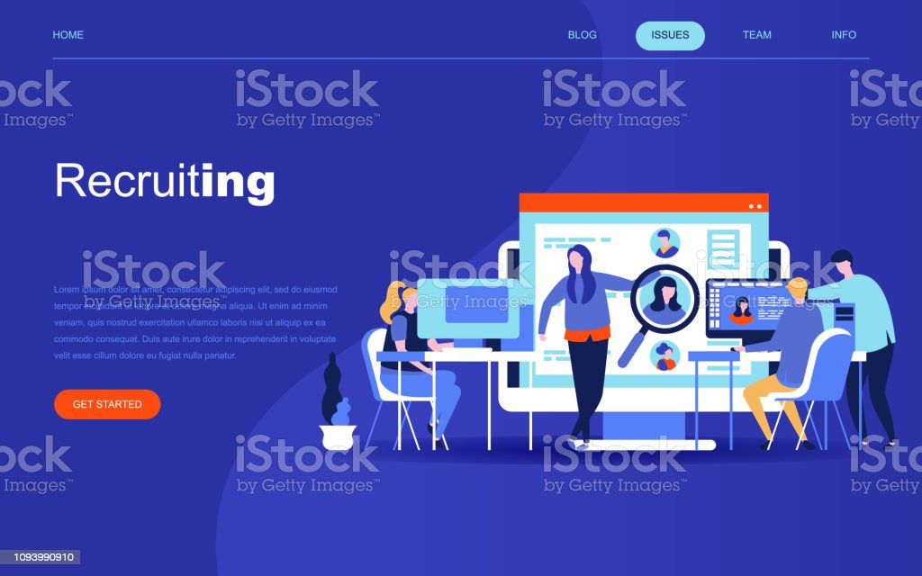 Modern flat design concept of Business Recruiting for website and mobile website development. Landing page template. royalty-free modern flat design concept of business recruiting for website and mobile website development landing page template stock illustration - download image now