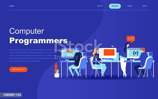 istock Modern flat design concept of Computer Programmers for website and mobile website development. Landing page template. 1093991154