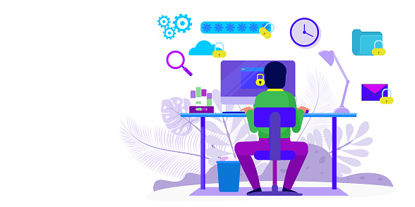 Modern flat design concept of Cyber security with characters check access, protecting data and confidentiality .Can use for banner, mobile app, landing page, web template