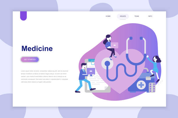 Concepto de diseño plano moderno de medicina sitio web y sitio web móvil. - ilustración de arte vectorial